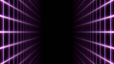 Retro Synthwave 80s Neon Grid Net Lines and Parallel Planes - Abstract Background Texture Imagens
