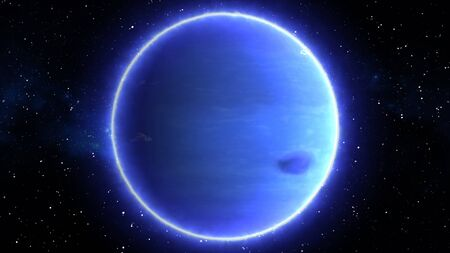 Beautiful View of Planet Neptune from Space Timelapse and Stars - Abstract Background Texture Banque d'images