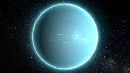 Schöne Aussicht auf den Planeten Uranus aus dem Weltraum Zeitraffer und Sterne - abstrakte Hintergrundtextur Standard-Bild