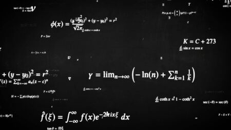 Fly through Math Formula Equation Science Symbols on Blackboard - Abstract Background Texture