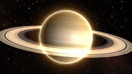 Beautiful View of Planet Saturn from Space Timelapse and Stars - Abstract Background Texture