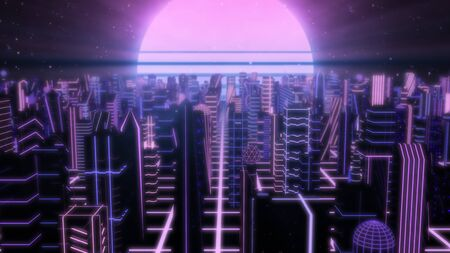 Fly Over Neon City Outrun Synthwave Buildings with 80s Retro Sun - Abstract Background Texture