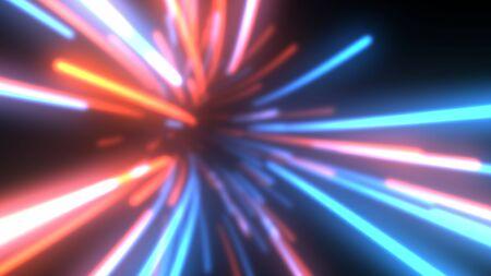 Fliegen in futuristischer Datenstrom-Technologie Tunnel aus leuchtenden Linien - abstrakte Hintergrundtextur Standard-Bild