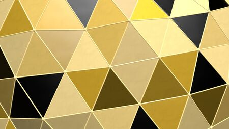Shiny Metallic Black Gold Moving Triangle Grid Tile Shapes Graphic - Abstract Background Texture