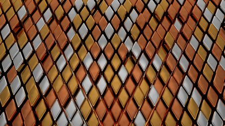 Abstract Gold Silver and Bronze Diamond Rhombus Metal Shape Tiles - Abstract Background Texture