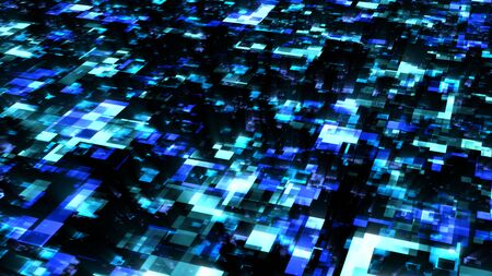 Futuristic Digital Data Stream Flow in Blue Cyberspace Network - Abstract Background Texture