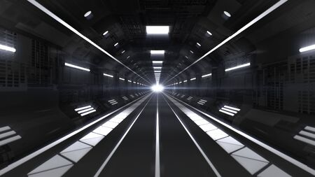 Flying through Futuristic Spaceship Tunnel Corridor Sci-Fi Concept - Abstract Background Texture