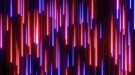 Falling Glowing Red Blue Neon Streak Cascading Rain Line Particles - Abstract Background Texture Banque d'images