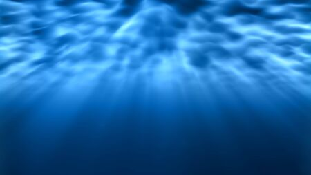 Underwater Light Rays Shine Bright Underneath Rippling Ocean Waves - Abstract Background Texture