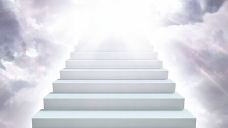 Stairway to Heaven in Cloudy Sky with Sunlight Rays Shining Down - Abstract Background Texture