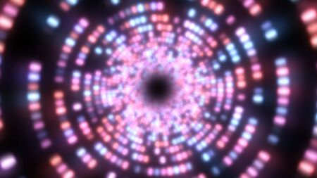 Fly in Endless Tunnel Circle Ring of Bright Glowing Neon Lights - Abstract Background Texture Banque d'images