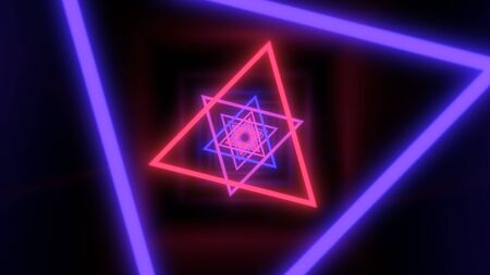 Fly through Ultraviolet Glowing Neon Triangle Black Light Tunnel - Abstract Background Texture