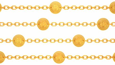 Golden Bitcoin Blockchain Transaction Chains Moving Left and Right - Abstract Background Texture