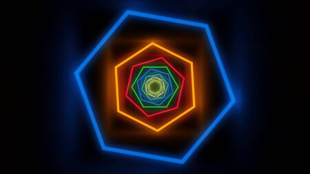 Fly in Moving Hexagon Rainbow Glowing Neon Lights Tunnel Corridor - Abstract Background Texture