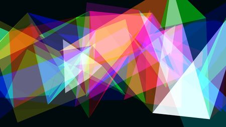 Abstract Translucent Rainbow Moving Geometric Triangle Shapes - Abstract Background Texture Banque d'images