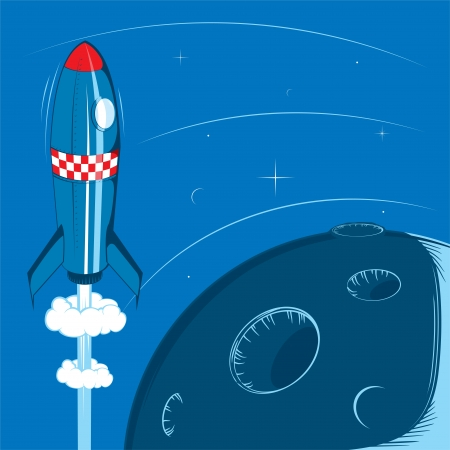 Deep space retro rocket 2 Stock Vector - 18706054