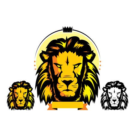 high school sports: Lion head mascot Illustration