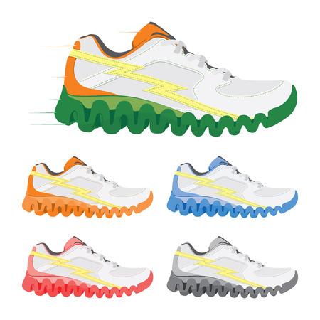 walking trail: Vector running shoe Illustration