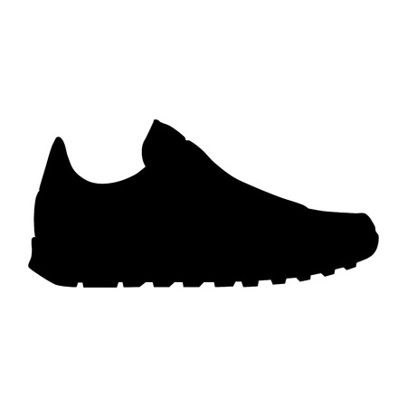 walking trail: running shoe silhouette Illustration
