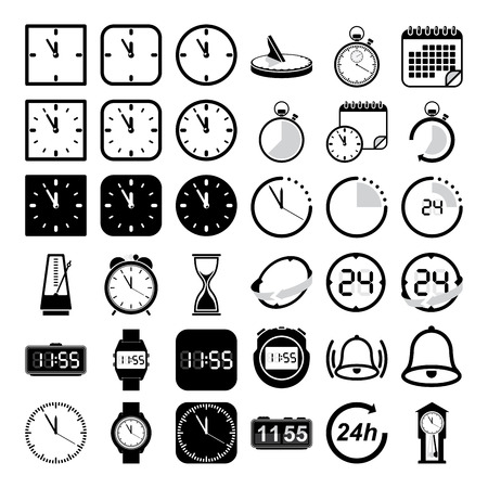 digital clock: Vector time and clock icon set Illustration