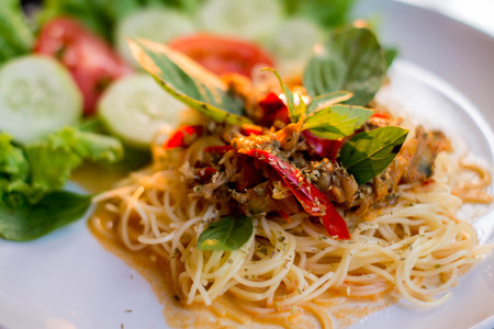 seafruit: Delicious seafood Spaghetti dish  Stock Photo
