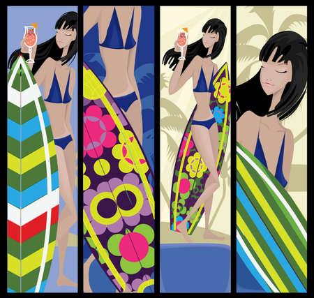 chica surf: Banners de surf Vectores