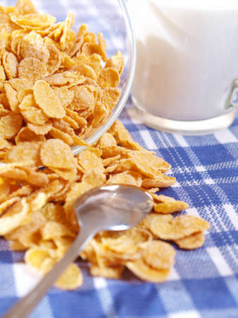 Corn flakes are scattered on the tablecloth