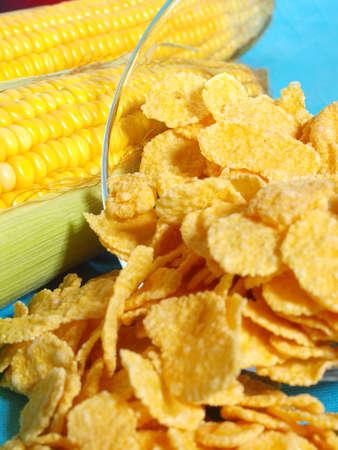 Corn and corn flakes close up Stock Photo