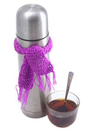 Thermos on a white background with a scarf