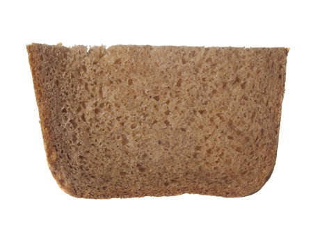 A piece of rye bread on a white background. In isolation.