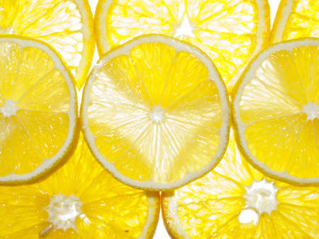 A lot of orange and lemon slices in the lumen Stock Photo