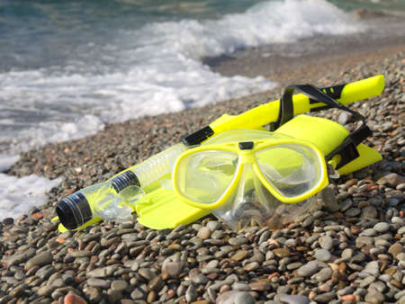 Mask, fins, and snorkel to swim on the beach