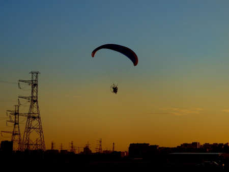 Glider flight at sunset