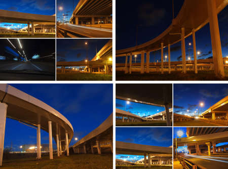 Collage night city bridges in illumination and lighting photo