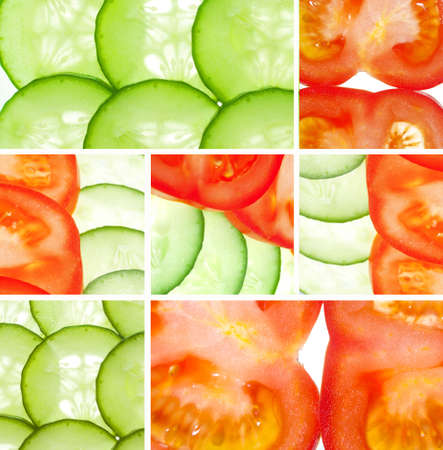 Tomatoes, cucumbers, vegetable collage in bright colors Stock Photo