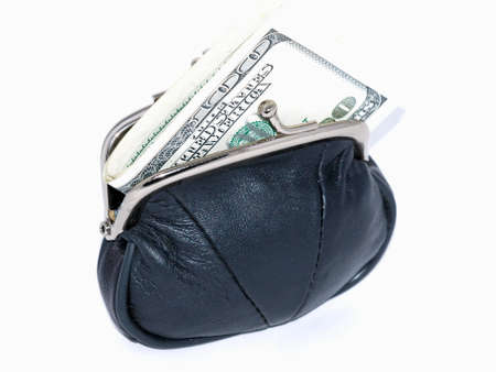 Purse with banknotes on a white background