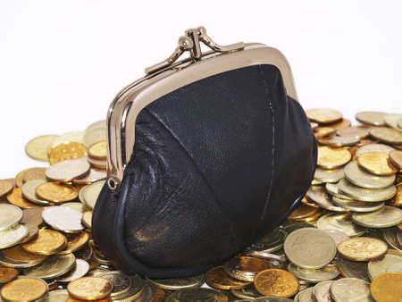 Black purse and coins