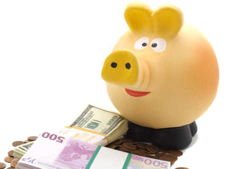 Pig piggy bank and money Stock Photo