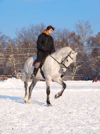 Girl takes a walk on the horse in winter