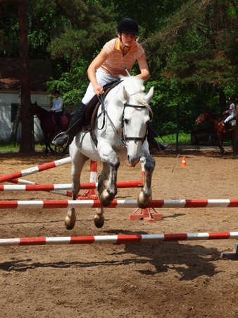 Girl jumping on a horse through an obstacle    Stock Photo