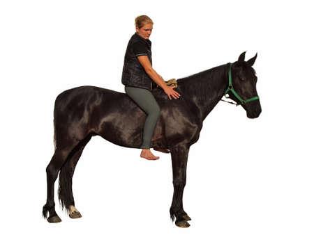 Girl and horse isolated on white background Stock Photo - 20443741