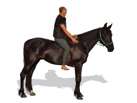 Girl and horse isolated on white background Stock Photo - 20443742