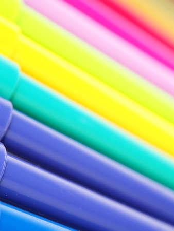 Colored felt-tip pens close up