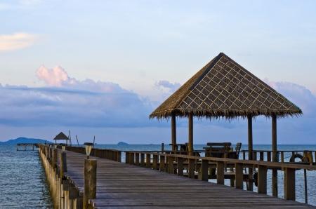 Long wood pier in Tropical sea,Thailand