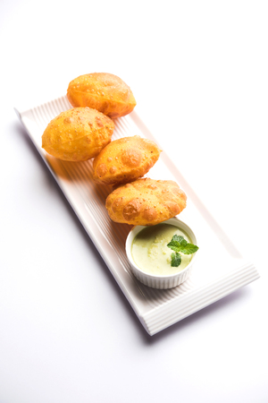 Homemade Fried Puri or Poori Or Indian Bread, selective focus