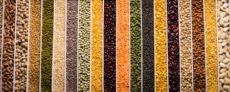 Indian Beans,Pulses,Lentils,Rice and Wheat grain in a white box with cells or strips, selective focus.