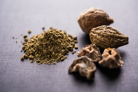 Indian ayurvedic Triphala churan or trifala powder is an ancient medicine for bowel movement or indigestion problems. Selective focus 版權商用圖片 - 104114203