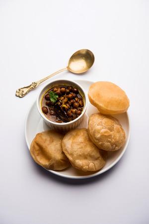 Chole puri or chana masala with fried poori