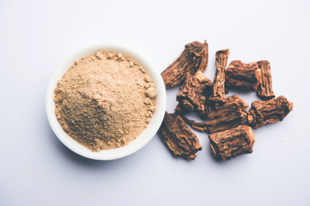 Hemidesmus indicus also known as Ananthamoola or Naruneendi or Nannari in dried steam and powder form. Its a useful Ayurvedic medicine from India