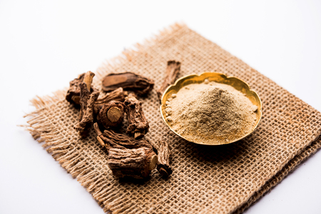 Hemidesmus indicus also known as Ananthamoola or Naruneendi or Nannari in dried steam and powder form. It's a useful Ayurvedic medicine from India
